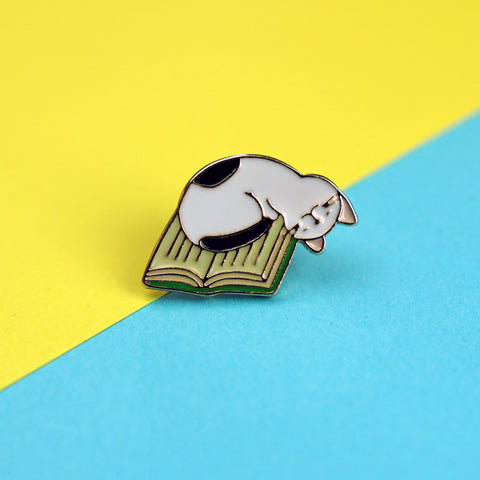Cat Asleep on Book Enamel Pin