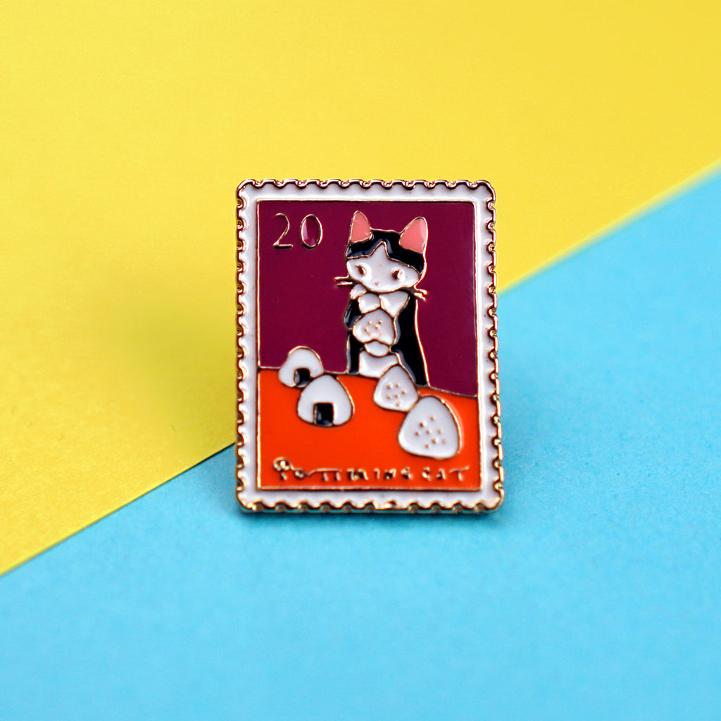Cat Eating Rice Balls Stamp Enamel Pin