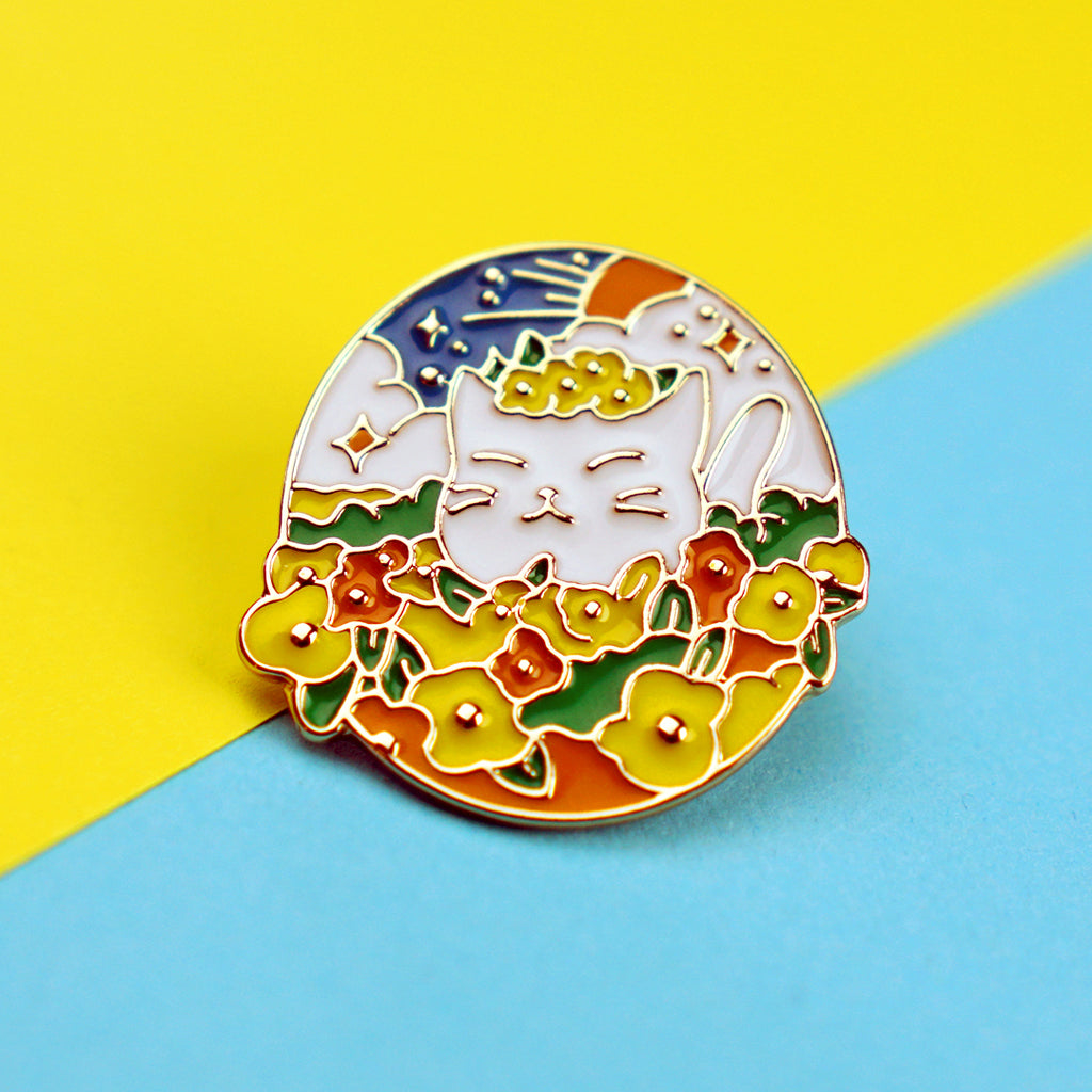 Cat Hiding in Flowers Enamel Pin