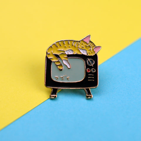 Cat on Television Enamel Pin