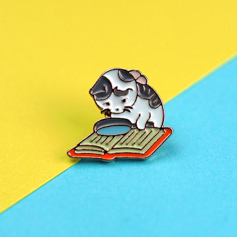 Cat with Magnifying Glass Enamel Pin