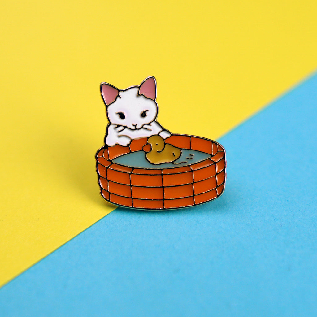 Cat with Rubber Ducky Enamel Pin