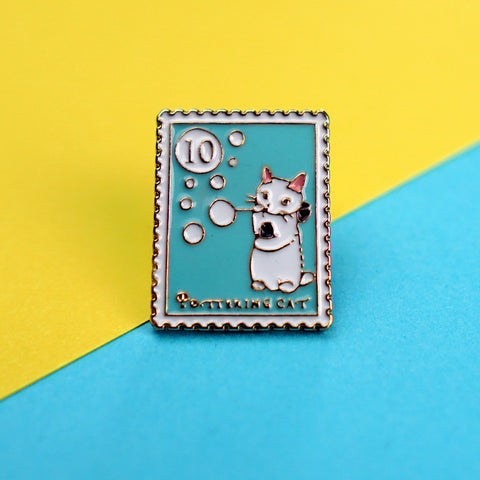 Cat Blowing Bubbles Stamp Enamel Pin