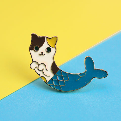 Cat Mermaid with Blue Tail Enamel Pin
