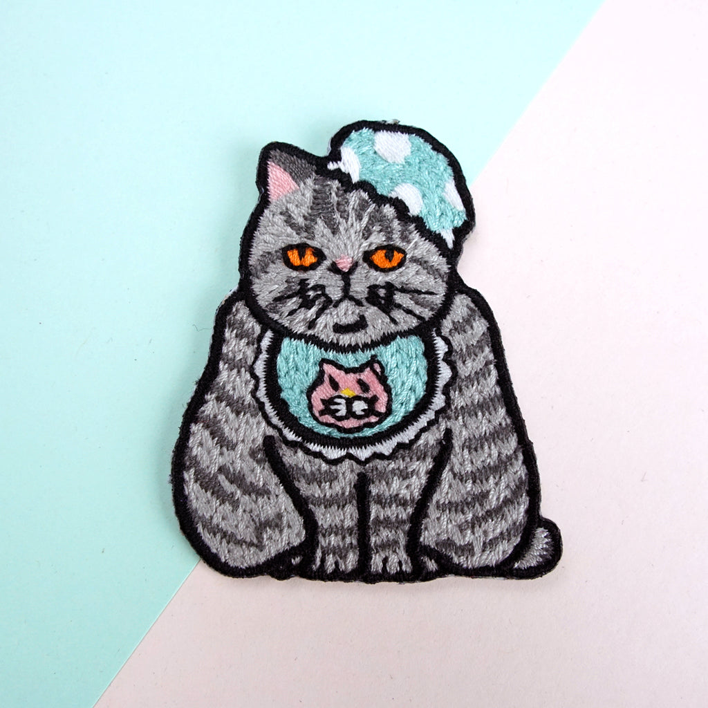 Baby Cat with Bib and Bonnet Iron-on Patch