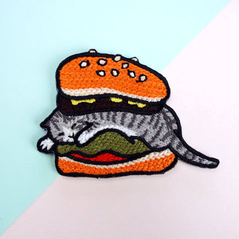 Cat Burger Iron-on Patch