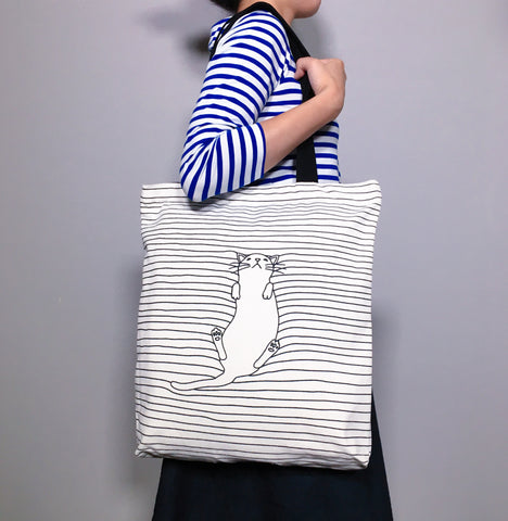 Black Striped Tote Bag