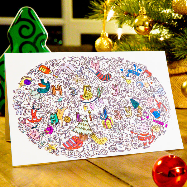 Happy Holidays Colouring Card (Pack of 4)