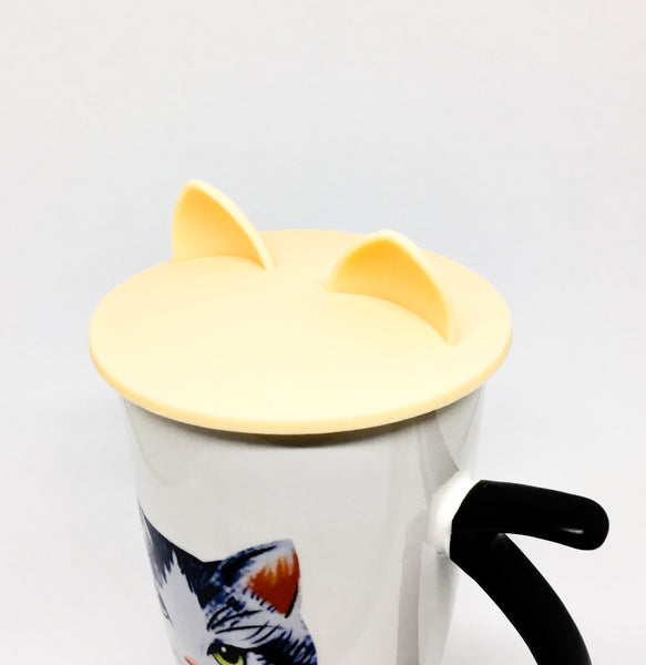 Cat Ears Cup Lid - Cream