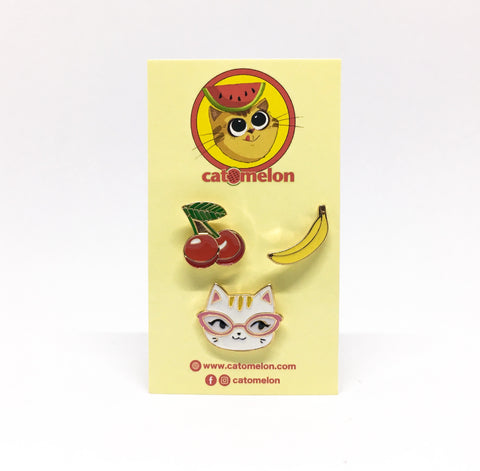 Fruity Cat Pin Set