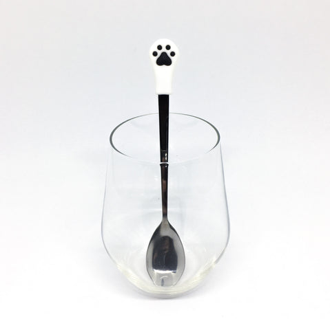 Stainless Steel Paw Spoon - White with Black paws