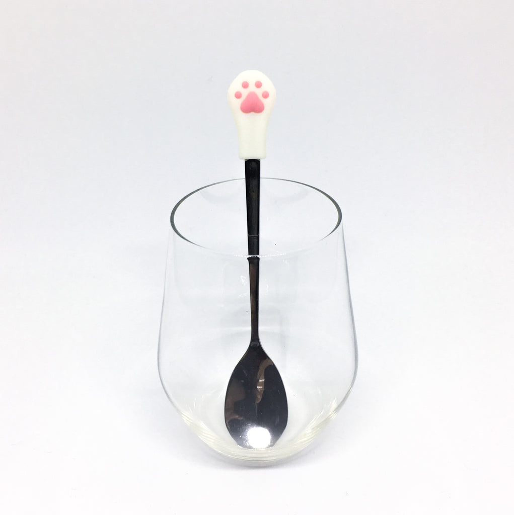 Stainless Steel Paw Spoon - White with pink paws