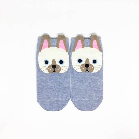 Cat Ears Ankle Socks - Blue