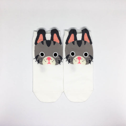 Cat Ears Ankle Socks - White