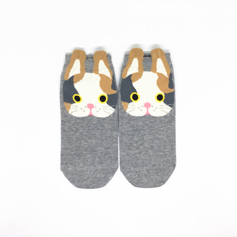 Cat Ears Ankle Socks -  Grey