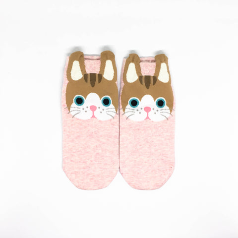 Cat Ears Ankle Socks - Pink
