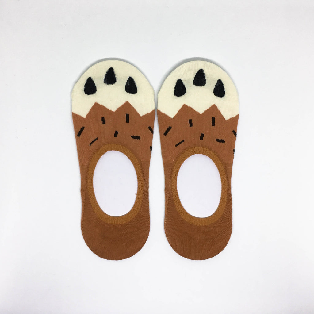 Cat Paw No Show Socks - Brown