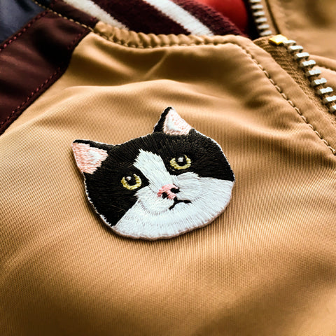 Cat Face - Black and White Cat Iron-on Patch