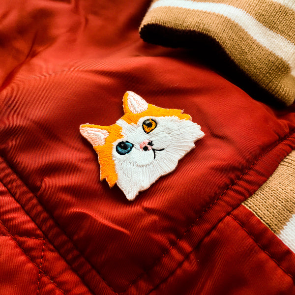 Cat Face - Orange and White Cat Iron-on Patch