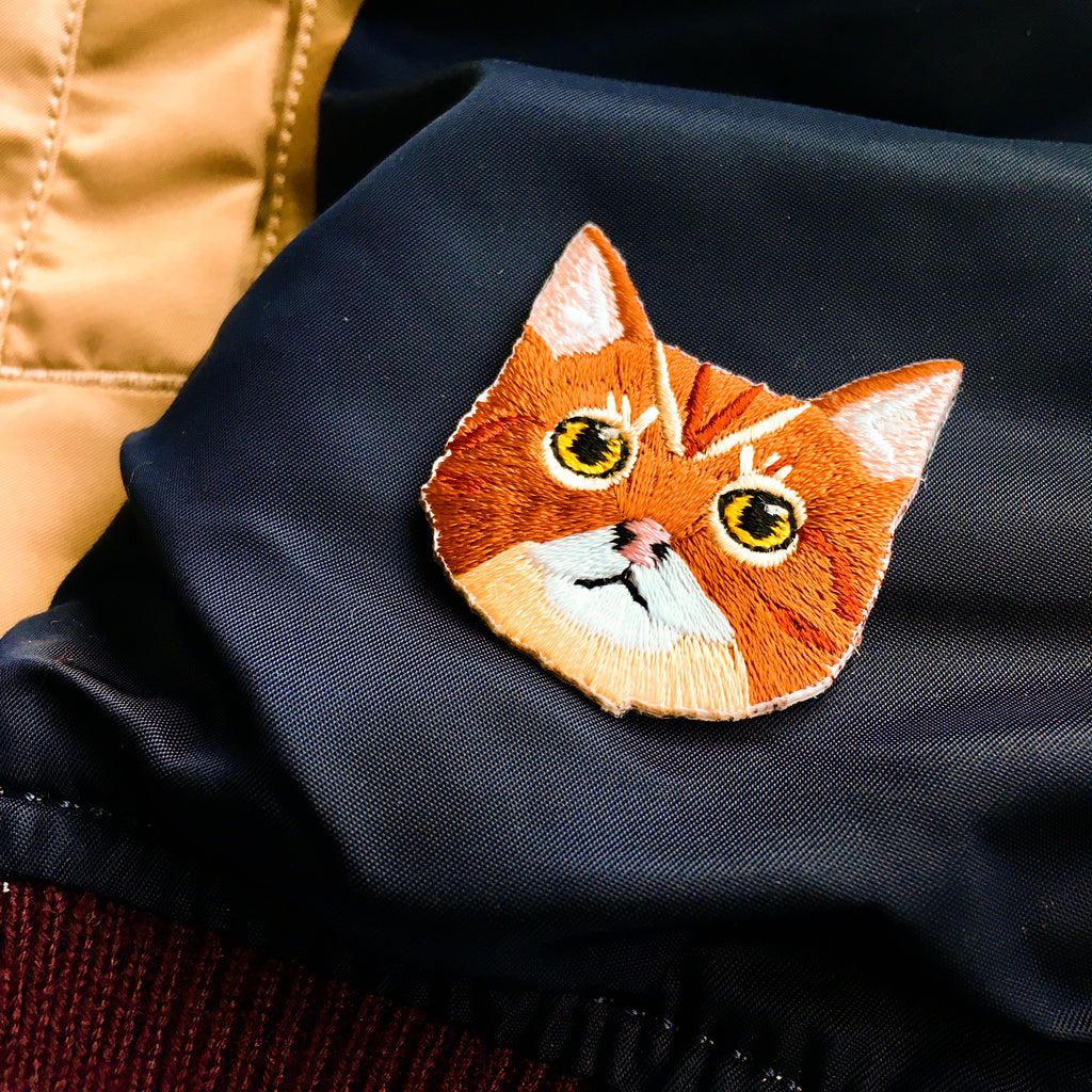 Cat Face - Tabby Brown Cat Iron-on Patch