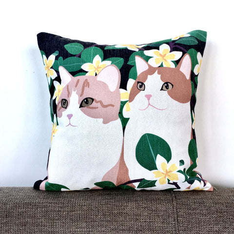 Two Brown Cats in the Garden Cushion