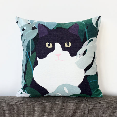 Black and White Cat in the Garden Cushion