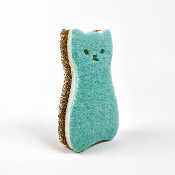 Cat & Fish Sponge Set - Mint/Dark Blue