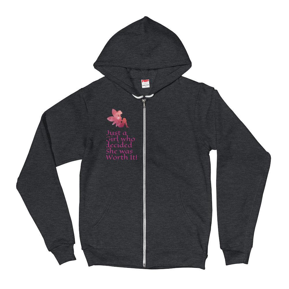 """Just a Girl Who Decided she was Worth it!"" Inspirational Hoodie Sweater"