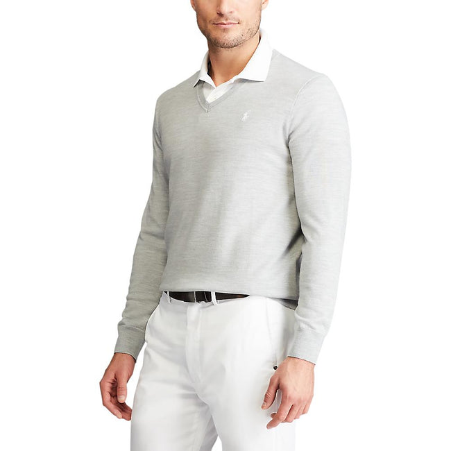 Polo Golf Ralph Lauren Washable Merino V-Neck Sweater - Light Pebble Heather