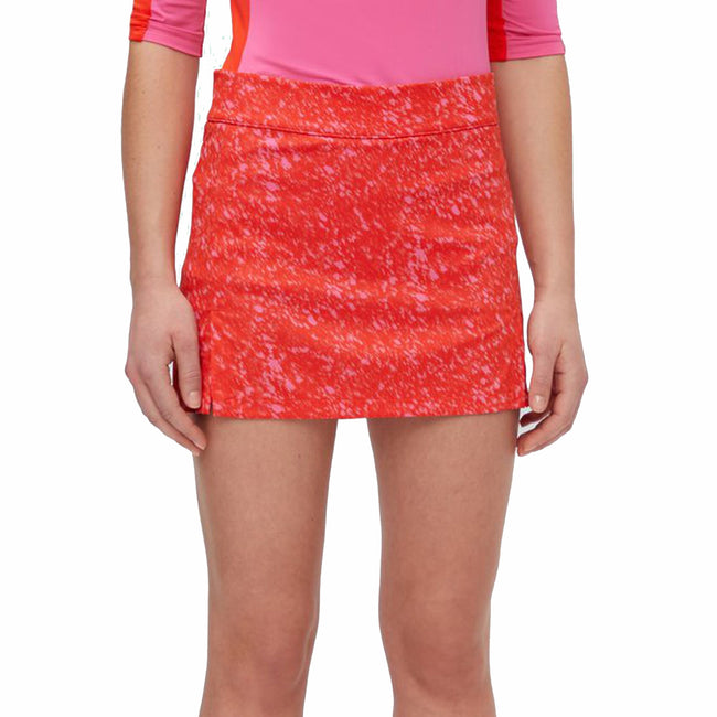J.Lindeberg Women's Amelie Icelayer TX Jersey Golf Skort - Plater Red Pink