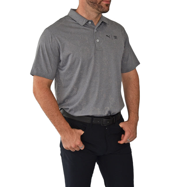 Puma First Mile Flash Polo Golf Shirt - Quiet Shade Heather