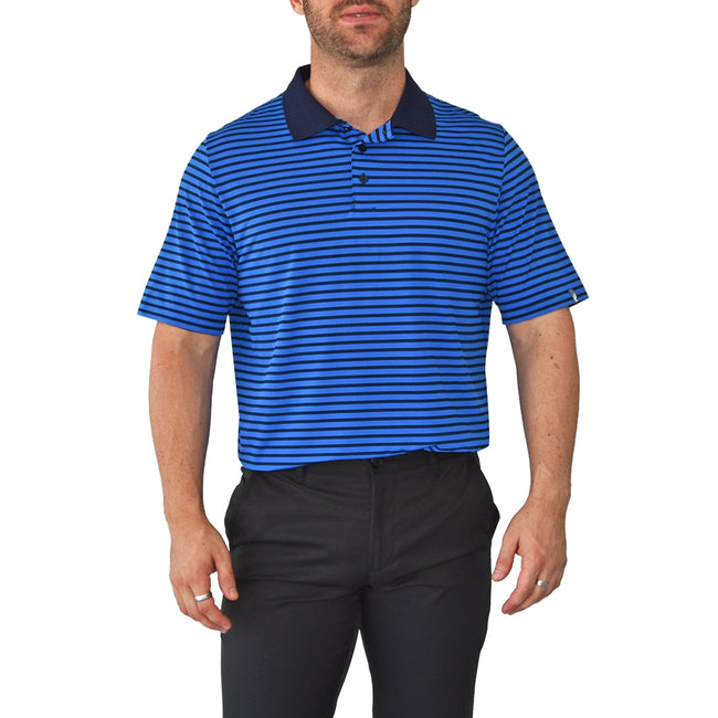 KJUS  Luis Stripe Polo Golf Shirt - Pacific Blue/Atlanta Blue