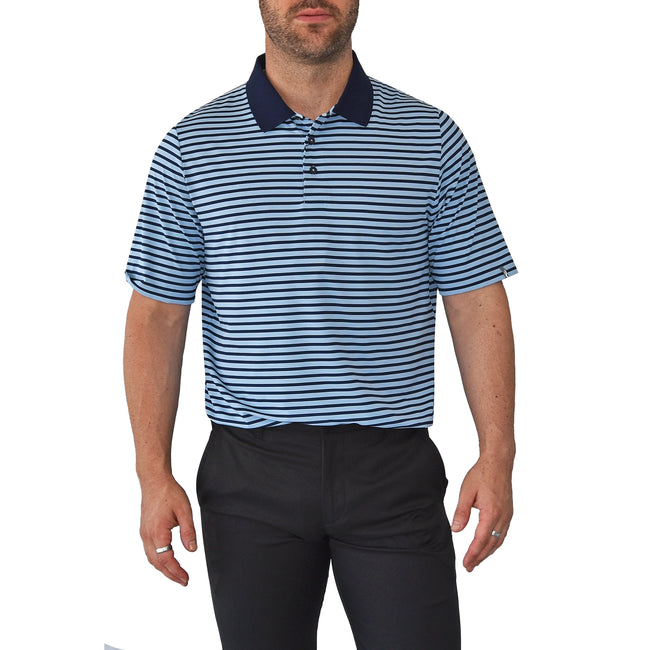 KJUS  Luis Stripe Polo Golf Shirt - Bermudas Blue/Atlanta Blue