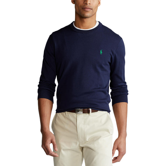 Polo Golf Ralph Lauren Cotton Crew Neck Sweater - French Navy/Green