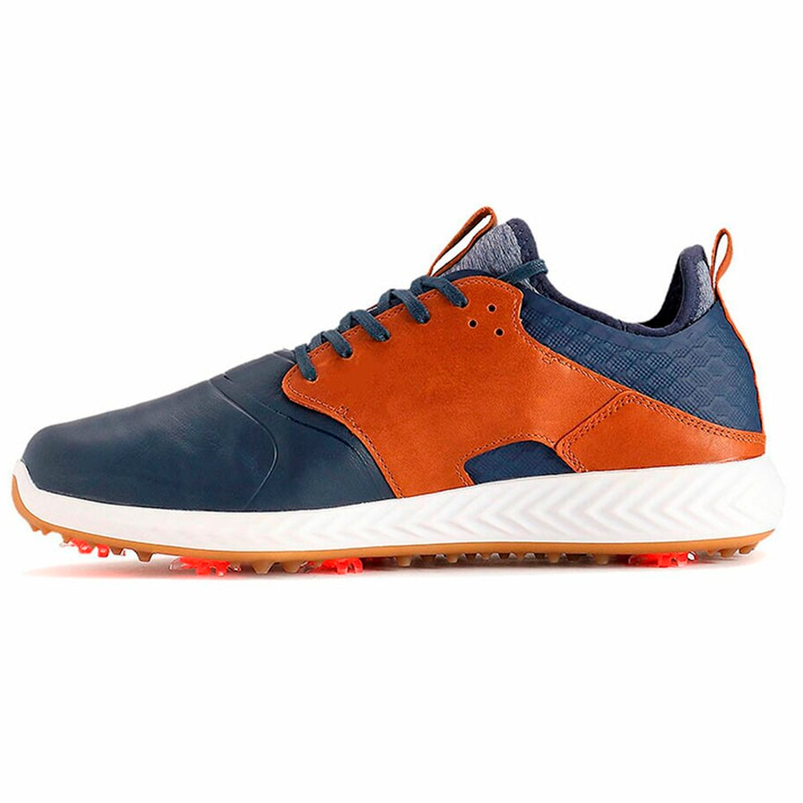 Puma IGNITE PWRADAPT Caged Crafted Golf Shoes - Peacoat/Leather Brown/Gold