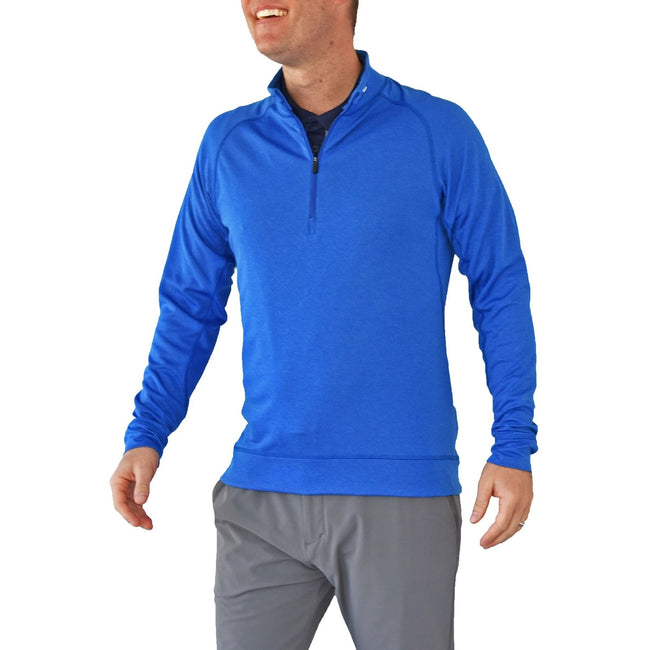 KJUS Keano Half-Zip Mid-Layer - Pacific Blue Melange