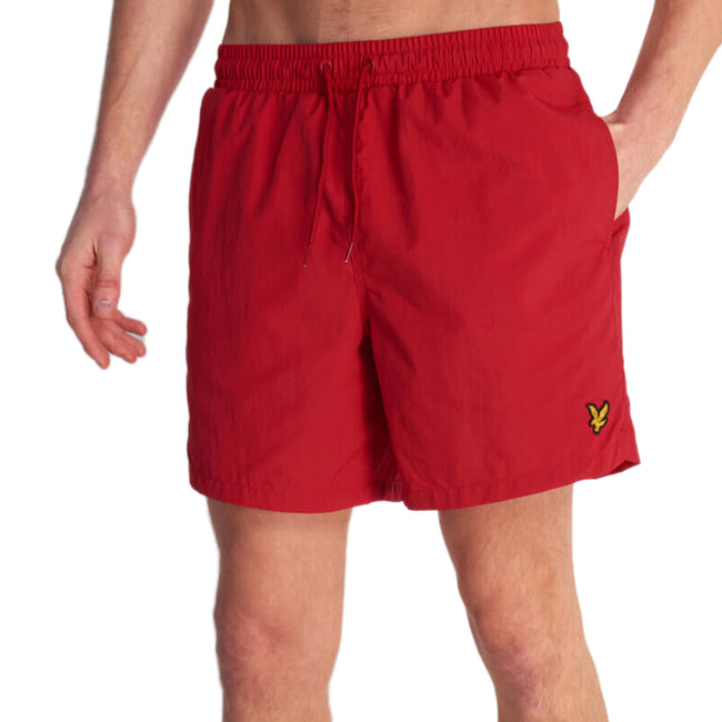 Lyle & Scott Plan Swim Shorts - Gala Red