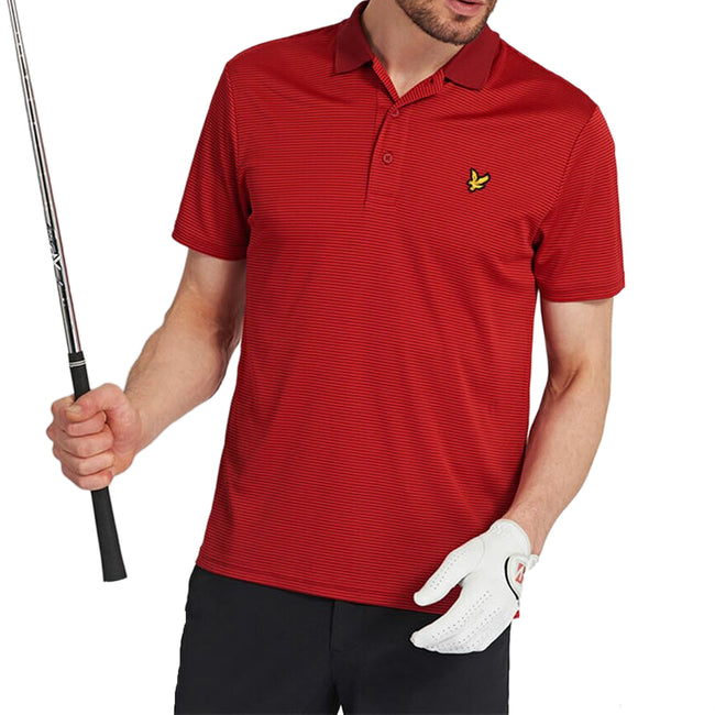Lyle & Scott Microstripe Polo Shirt - Turbo Red/Fire Red
