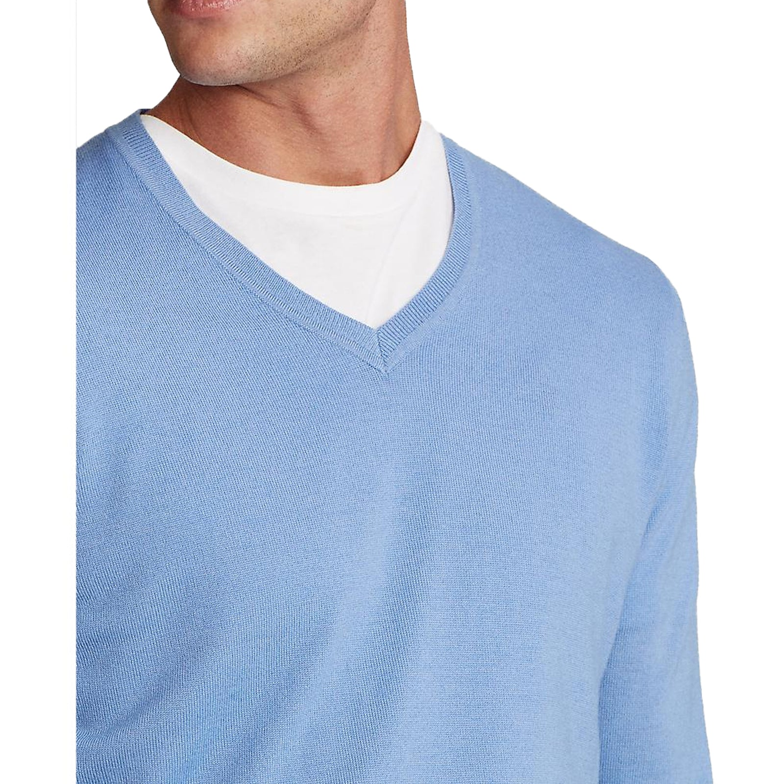 Polo Golf Ralph Lauren Washable Merino Wool V-Neck Sweater - Fall Blue