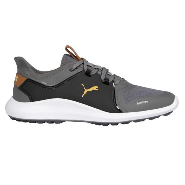 Puma IGNITE FASTEN8 Wide Golf Shoes - Gold/Black/Quiet Shade