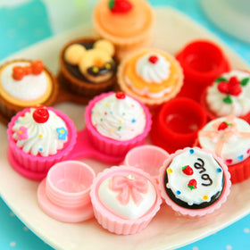 1 pc Fashion Cake Portable Cute Travel Contact Lens Case Eye Care Kit Holder Mirror Box health beauty vision care color random