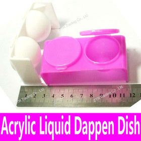 1 piece New Double Lips Dappen Dish for Mixing Acrylic Liquid and Acrylic Powder Plastics Nail Art Tools White Pink Bowl Cup Kit