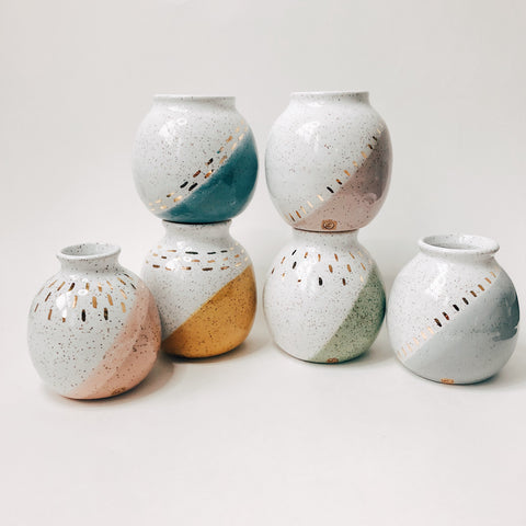 Small Fancy Color Dipped Vases