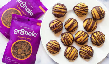 No-Bake Vegan Superfood Dark Chocolate Turmeric Macaroons with gr8nola