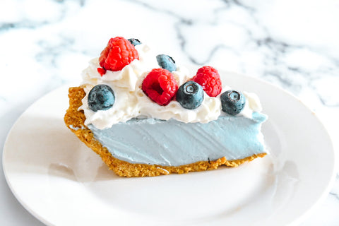 red white and blue pie, fourth of july recipe, dessert, cake, pie, vegan
