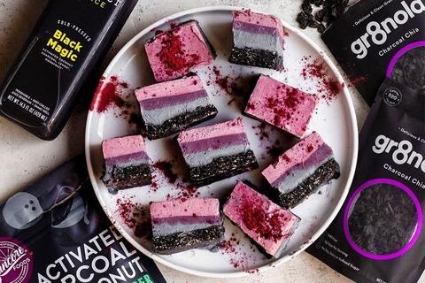 Ombre Activated Charcoal Cheesecake Bars (No-Bake)
