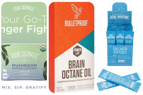 Four Sigmatic Matcha Latte Mix  X Bulletproof Brain Octane Oil X Vital Proteins Collagen