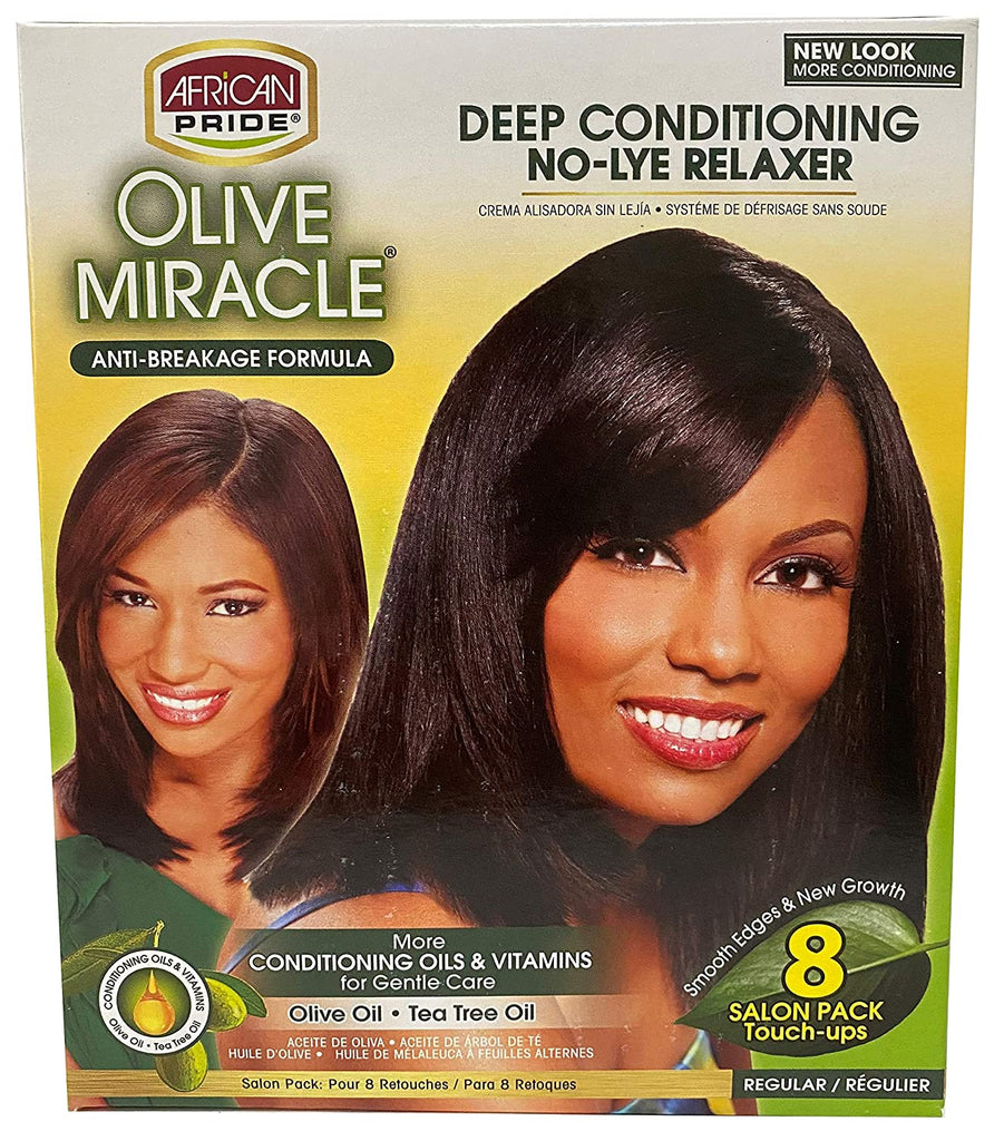 African Pride Olive Miracle Deep Conditioning No-Lye Relaxer Regular Kit