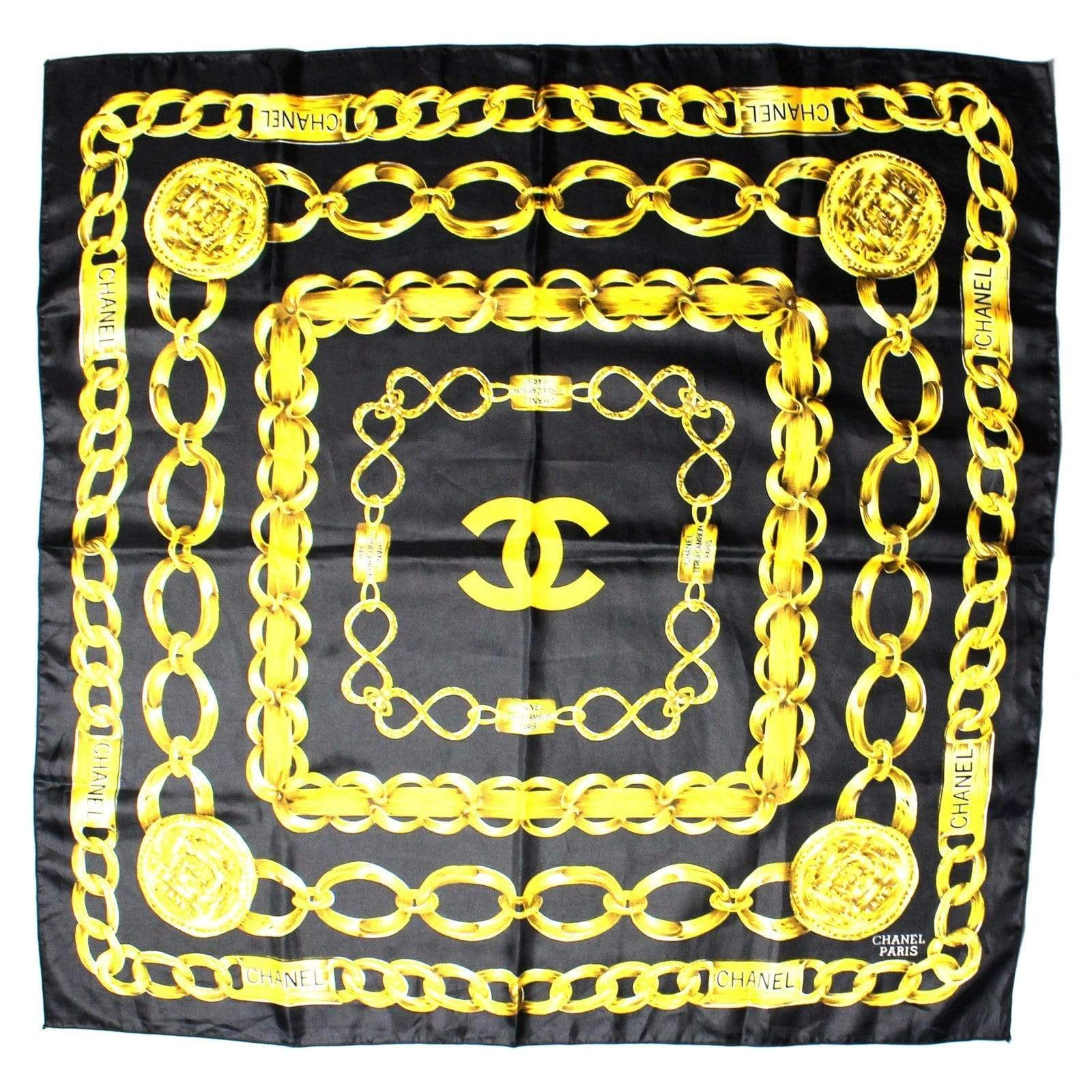 Black Vintage Silk Chanel Chains Scarf RSTKD Vintage