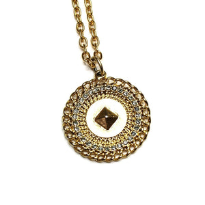 Double Sided Gold Givenchy Logo Coin Pendent Chain with Crystal Accents RSTKD Vintage